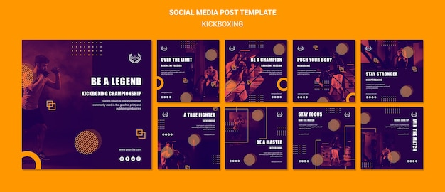 Kickboksen over de limiet concept social media post Gratis Psd