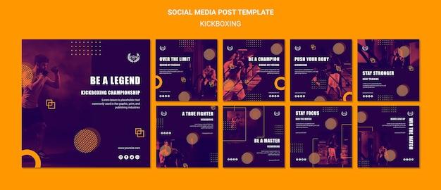 Kickboxing sobre el concepto de límite publicación en redes sociales PSD Premium