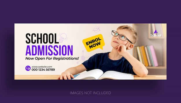 Kid school onderwijs toelating facebook tijdlijn voorbladsjabloon Premium Psd