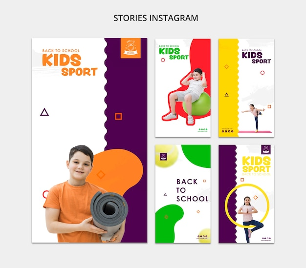 Kinderen sport sociale media sjabloon Gratis Psd