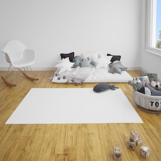 Kinderkamer met een bank en tapijt op houten vloer Gratis Psd