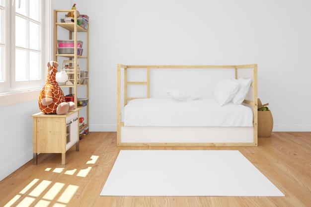 Kinderkamer met houten bed Gratis Psd