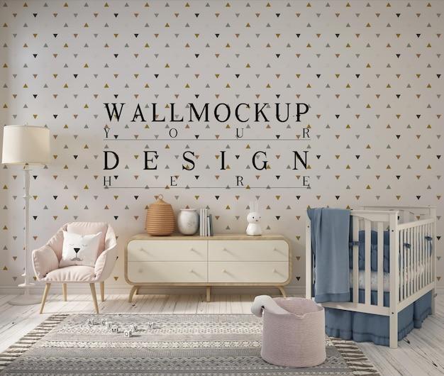 Kinderkamer met mockup-ontwerpmuur Premium Psd