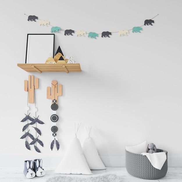 Kinderkamer met planken en speelgoed Gratis Psd