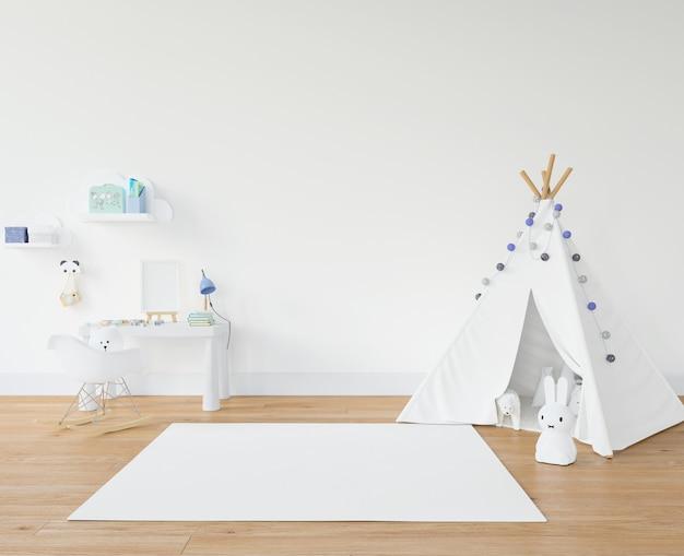 Kinderkamer met wit tapijt en tipi Gratis Psd