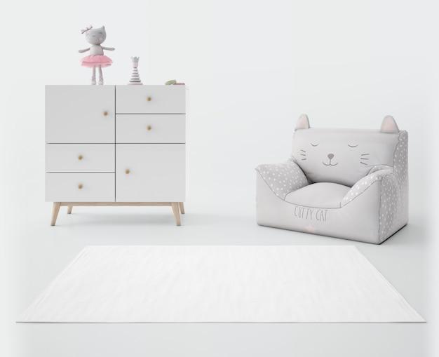 Kinderkamer met wit tapijt Gratis Psd