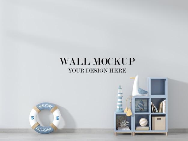 Kinderkamer muurmodel, kamer versierd met speelgoed en reddingsboei Premium Psd