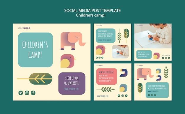 Kinderkamp concept sociale media postsjabloon Gratis Psd