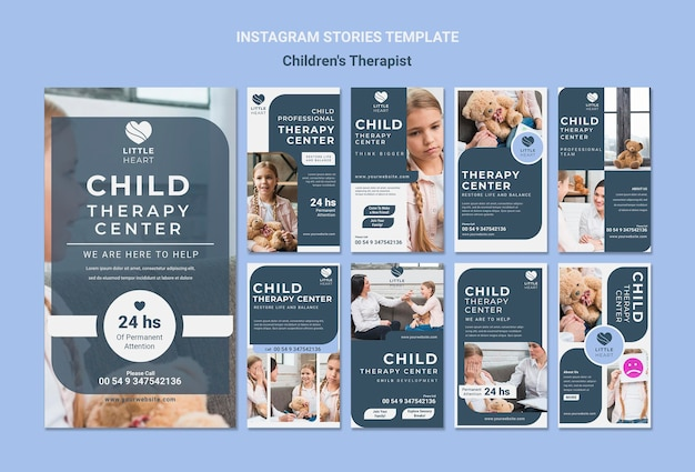 Kindertherapeut concept instagram verhalen sjabloon Premium Psd