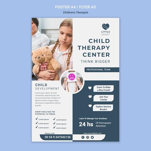Kindertherapeut concept poster sjabloon Gratis Psd