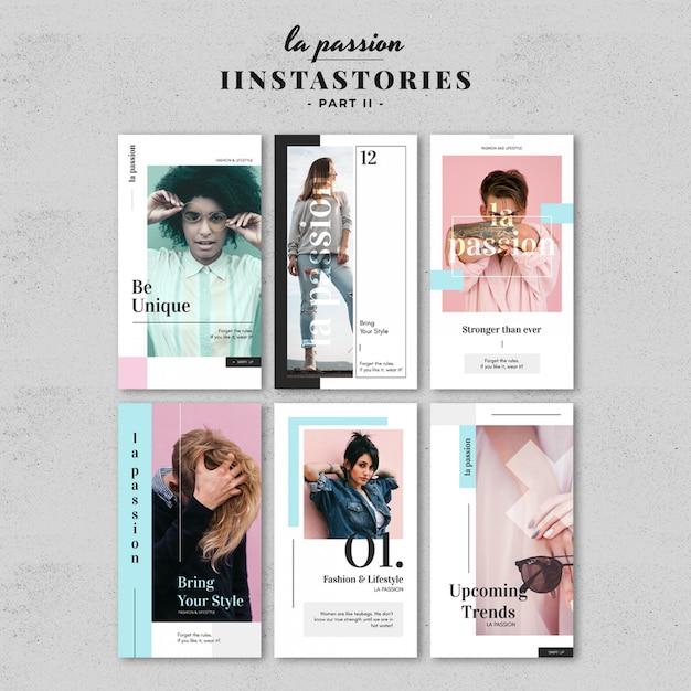 Kit di modelli story story colorati Psd Premium