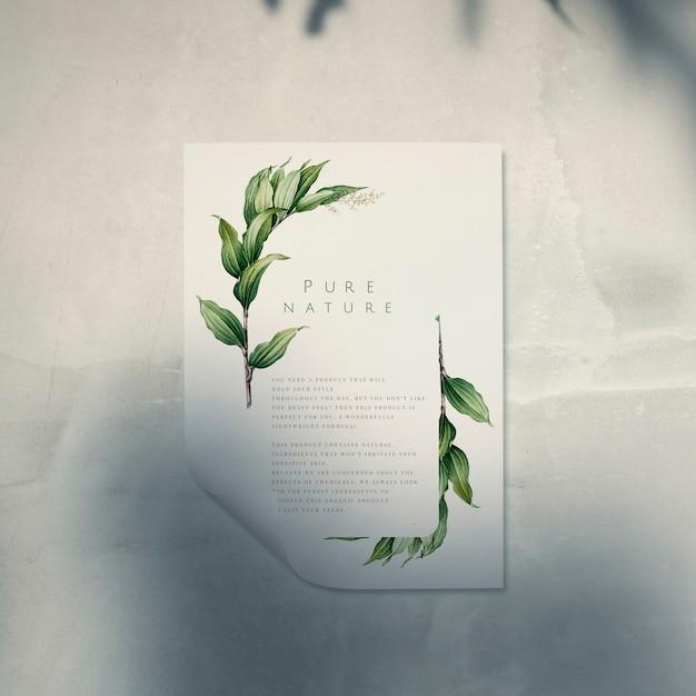 Klaar om poster mockup met een blad te gebruiken Gratis Psd