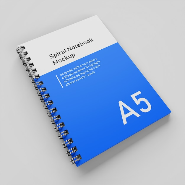 Klaar om te gebruiken eén bedrijf harde kaft spiraal binder a5 notebook mock up ontwerpsjabloon rechtsboven perspectief aanzicht Premium Psd