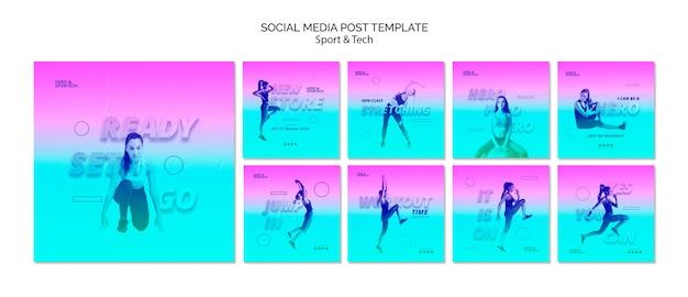 Klaar set ga sociale media post-sjabloon Gratis Psd