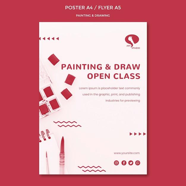 Klassen voor het tekenen en schilderen van postersjabloon Gratis Psd