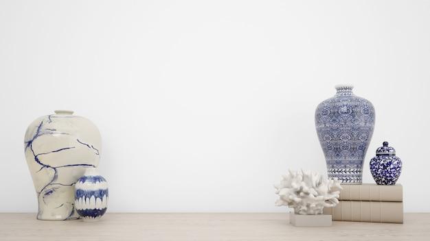 Klassieke vazen voor interieurdecoratie en witte muur met copyspace Gratis Psd