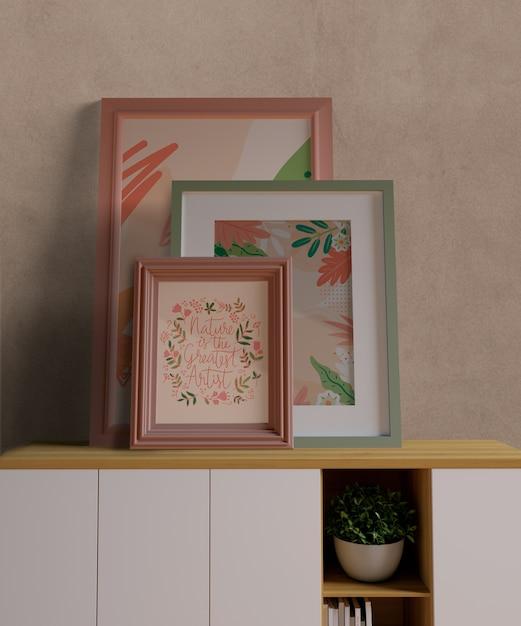 Kleine minimalistische frames mock-up Gratis Psd