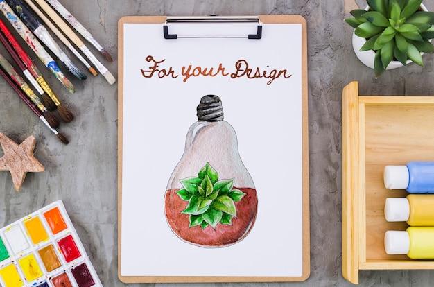 Klembord met realistische tekening Gratis Psd