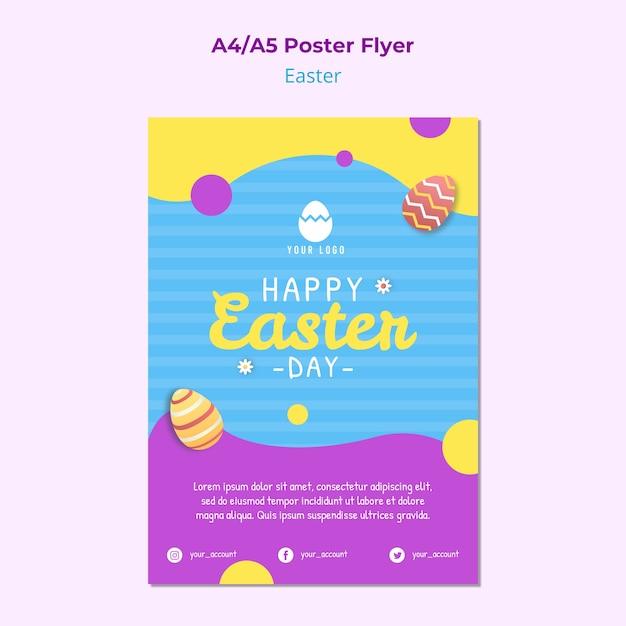 Kleurrijk pasen-affichemalplaatje met eieren Gratis Psd