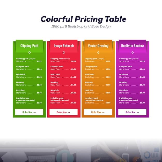 Kleurrijk prijstabelmodel Premium Psd