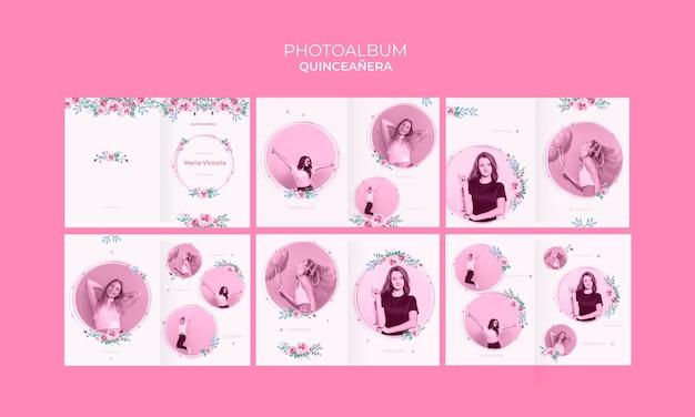 Kleurrijk quinceañera jubileumfotoalbum Gratis Psd