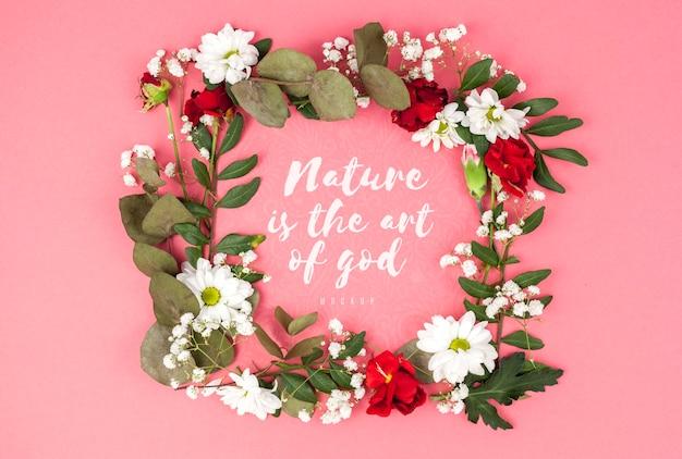 Kleurrijke bloemen frame mockup Gratis Psd