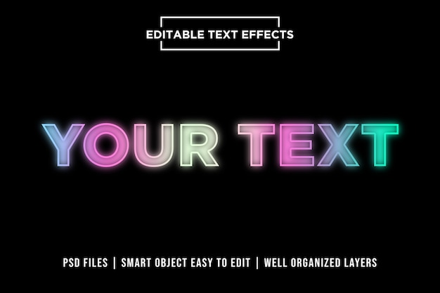 Kleurrijke neonlichten premium teksteffecten Premium Psd