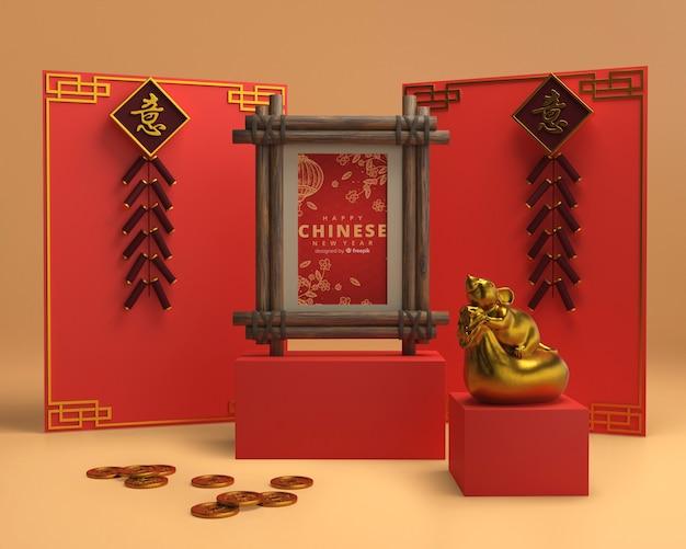 Kleurrijke ornamenten op muur voor nieuw jaar Gratis Psd