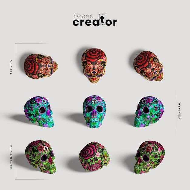 Kleurrijke schedelverscheidenheid van de scèneschepper van hoekenhalloween Gratis Psd