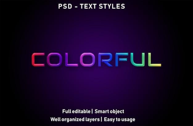 Kleurrijke teksteffecten stijl bewerkbare psd Premium Psd