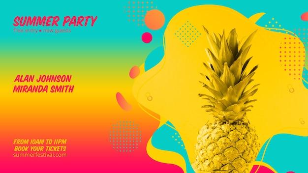 Kleurrijke zomer partij webbanner sjabloon Gratis Psd