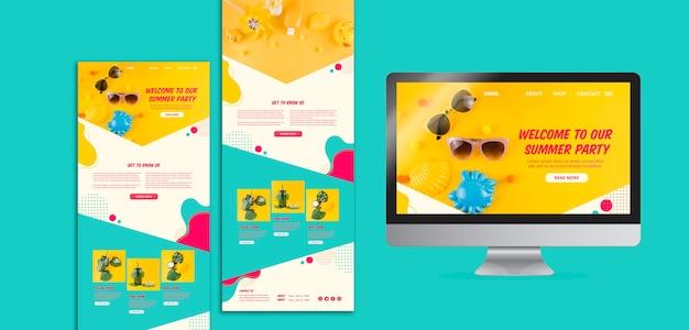 Kleurrijke zomer website sjablonen voor feestjes Gratis Psd