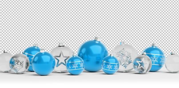 Knip geïsoleerde blauwe en glazen kerstballen opgesteld Premium Psd