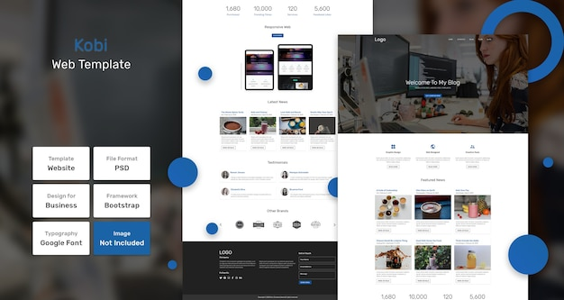 Kobi blog websjabloon Premium Psd