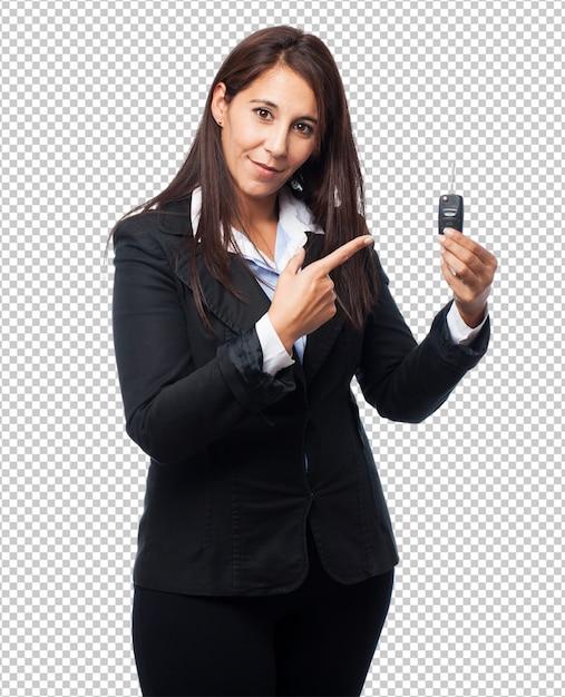 Koele bedrijfsvrouw met afstandsbedieningauto Premium Psd
