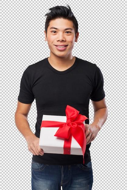 Koele chinees-man met een geschenk Premium Psd