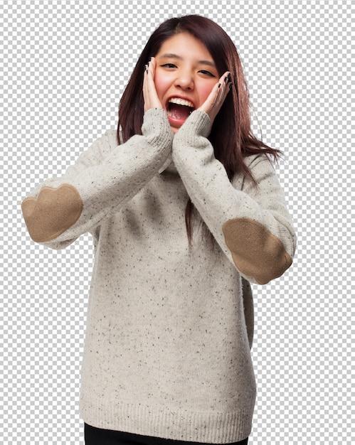 Koele chinees-vrouw verrast Premium Psd