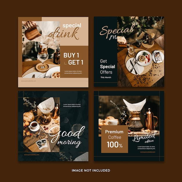 Koffie banner sociale media post sjabloon collectie Premium Psd