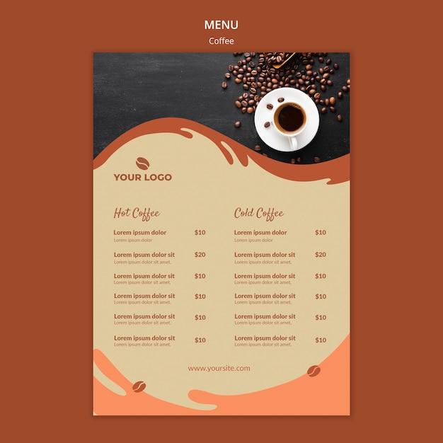 Koffie concept menu mock-up Gratis Psd