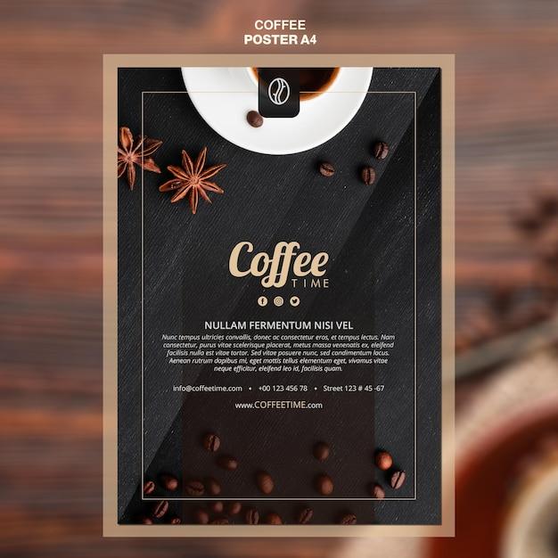 Koffie concept poster sjabloon Gratis Psd