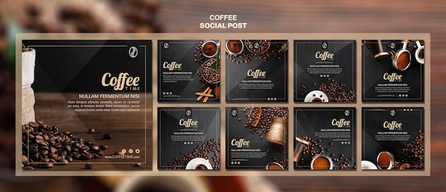 Koffie concept sociale media postsjabloon Gratis Psd