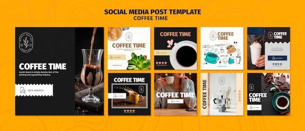Koffie en chocolade tijd sociale media post sjabloon Gratis Psd