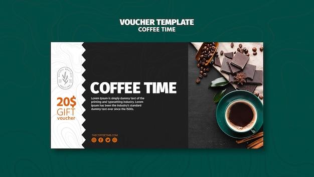 Koffie en chocolade tijd voucher sjabloon Gratis Psd