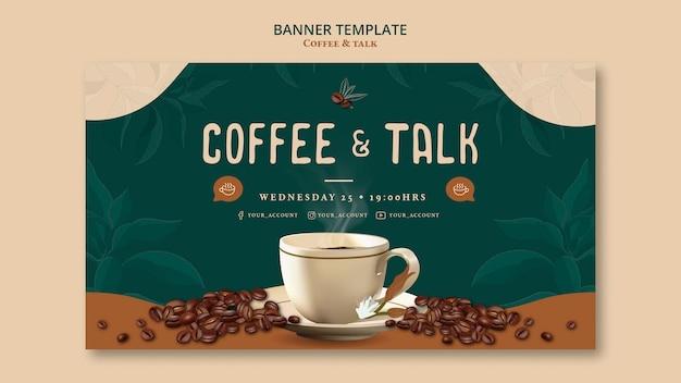 Koffie en praten banner sjabloonontwerp Gratis Psd