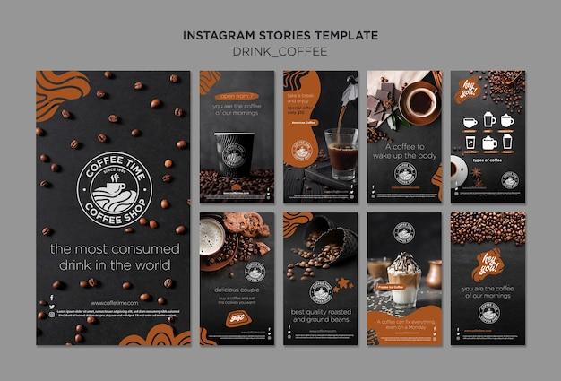 Koffie instagram verhalen collectie Gratis Psd