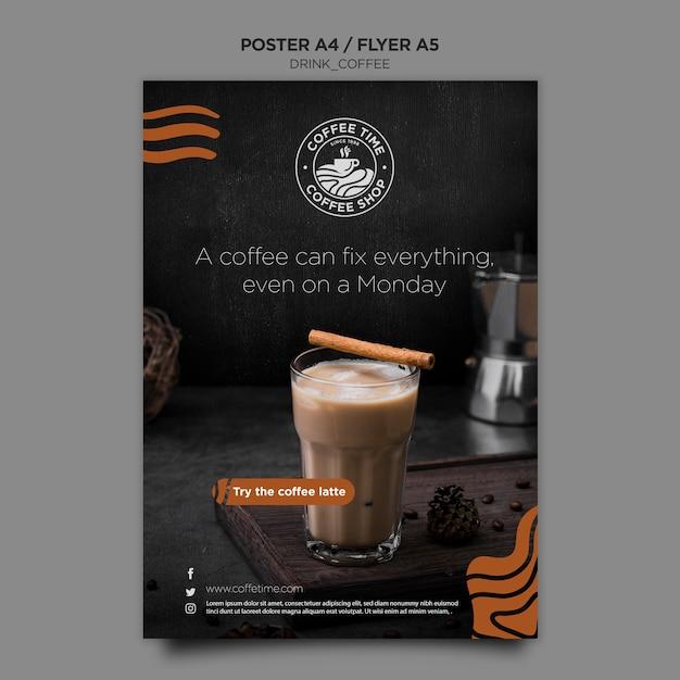 Koffie poster sjabloon Gratis Psd