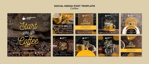 Koffie sociale media post sjabloon Gratis Psd