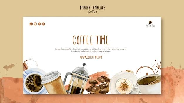Koffie thema voor sjabloon voor spandoek Gratis Psd
