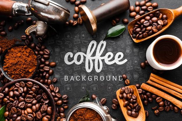 Koffieachtergrond met mokken en kommen koffiekader Gratis Psd
