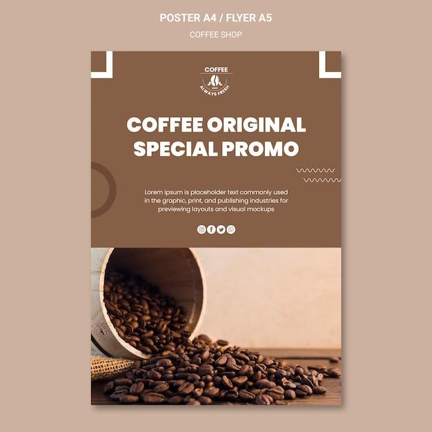 Koffieshop poster stijl Gratis Psd